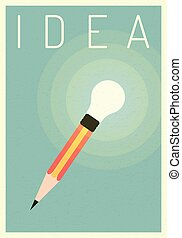 idea light bulb with pencil. vector business finance. Leadership concept, Minimalist retro poster