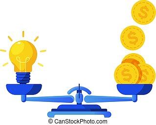 Idea light bulband a lot of gold dollar coins balance on scales. Metaphor vector illustration.