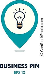 Idea, Lightbulb pin map icon. Business sign