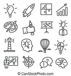 Idea line icons on white background