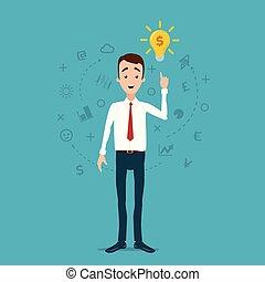 idea, luce, preso, idee, came, fire., pensieri, uomo affari, bulbo, nuvola