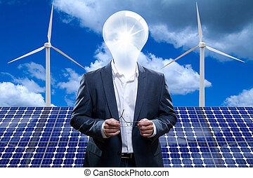 Idea Man And Solar Panel