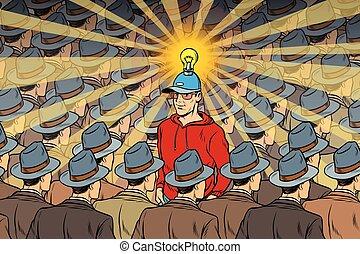 idea man in dull crowd. Pop art retro vector illustration