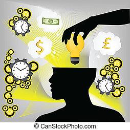 idea, mano, cerebro, poniendo, humano, bombilla