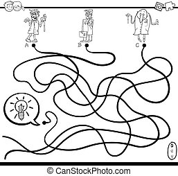 idea maze game coloring page - Black and White Cartoon...