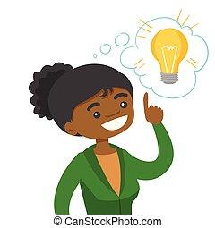 idea., mulher, tendo, negócio, africano