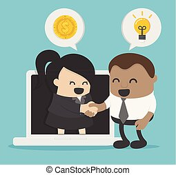 idea of a business person demonstrating the cooperation between the two companies via the Internet or electronic means.