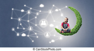 Idea of children Internet communication or online playing and pa