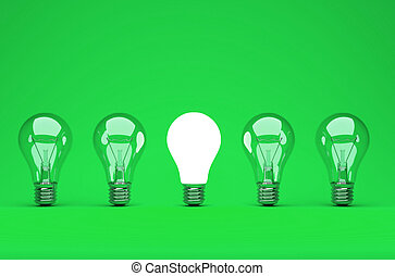 Idea or leadership concept on a green background