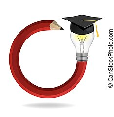 Idea pencil with Graduation cap.