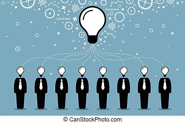 idea., pessoas negócio, criar, mentes, melhor, seu, idéias, pensamentos, combinar, maior