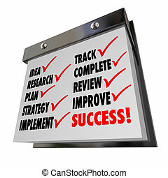 Idea Plan Strategy Implement Track Improve Calendar Words