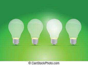 idea, pojęcie, z, hałas, świetlany, bulwy