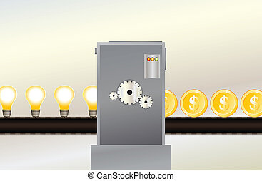 Vector illustration of an assembly line producing gold dollar coins from a bunch of light bulbs.