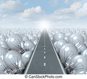 Idea road and creative Path business concept as a street or highway cutting through a landscape of light bulbs as a symbol and metaphor for innovation success and brainstorming solution.