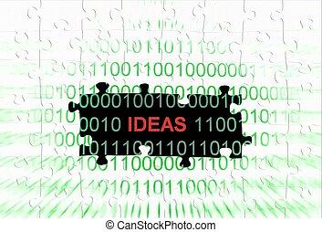 idea, rompecabezas, concepto