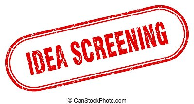 idea screening stamp. rounded grunge textured sign. Label