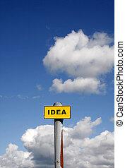 Idea sign against a blue sky