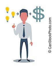 idea, soldi, crea, uomo