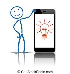 idea, stickman, smartphone, bulbo