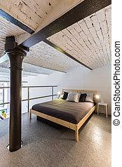 idea, stile, industriale, mezzanine, camera letto