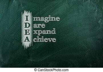 "Idea - IDEA acronym -"" Imagine,Dare,Expand,Achieve"". Drawn..."