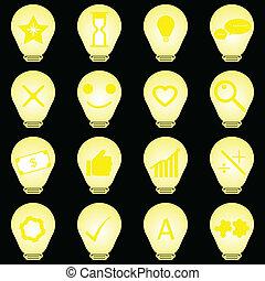 Idea symbol in light bulb icons on black background