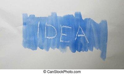 idea text inscription watercolor artist paints blot isolated...