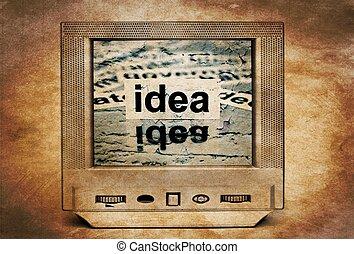 Idea text on vintage TV