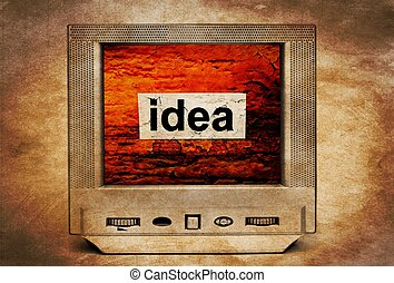 Idea text on vintage TV