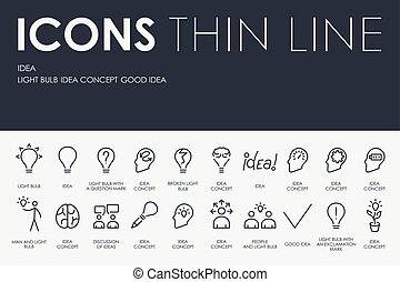 Idea Thin Line Icons - Thin Stroke Line Icons of Idea on...