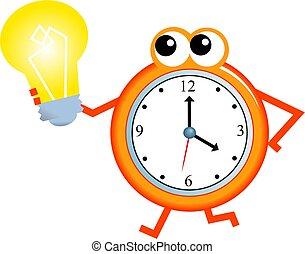 idea time - Cartoon clock man holding a light bulb isolated...