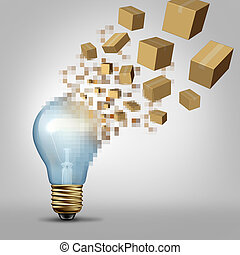 Idea to reality as a light bulb being digitally pixelated and the coded fragments transforming into packaged boxes of product as a business symbol for successful vision and visualizing goals.