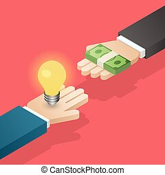 Idea trading for money. Business concept.