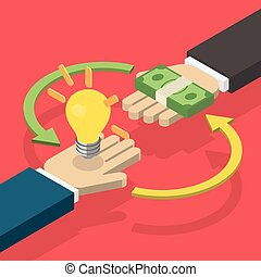 Idea trading for money concept. One hand holding light bulb...