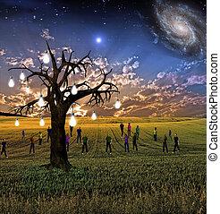 Idea tree landscape with crowd