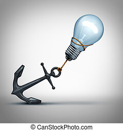 Idea Trouble - Idea trouble concept as a light bulb pulling...