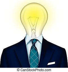 Idea - Tuxedo vector background with light bulb, vector