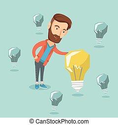 idea., uomo affari, caucasico, affari, detenere