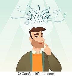 idea., uomo affari, detenere, affari