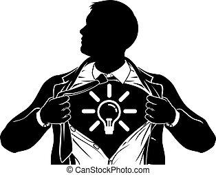 idea, uomo affari, superhero, strappo, camicia, torace