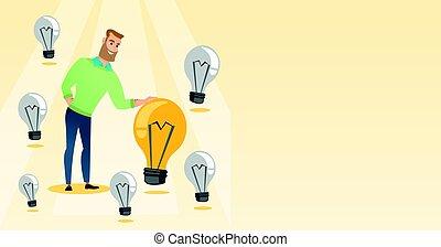 idea., uomo, detenere, affari, caucasico