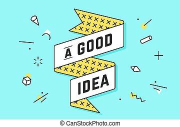 idea., vendange, bon, bannière, ruban