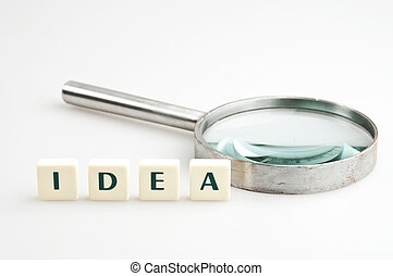 Idea word and magnifying glass
