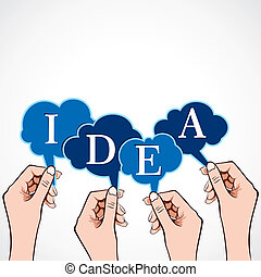 idea word in bubble message in hand