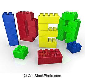 Idea Word in Toy Building Blocks Creative Play