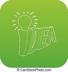 Idea word with light bulb icon green vector