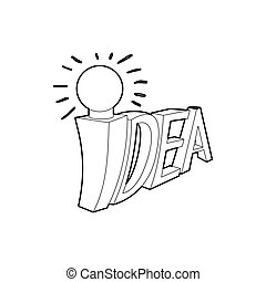 Idea word with light bulb icon, outline style