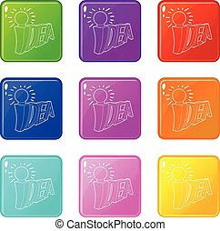 Idea word with light bulb icons set 9 color collection