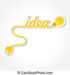 Idea word with light-bulb